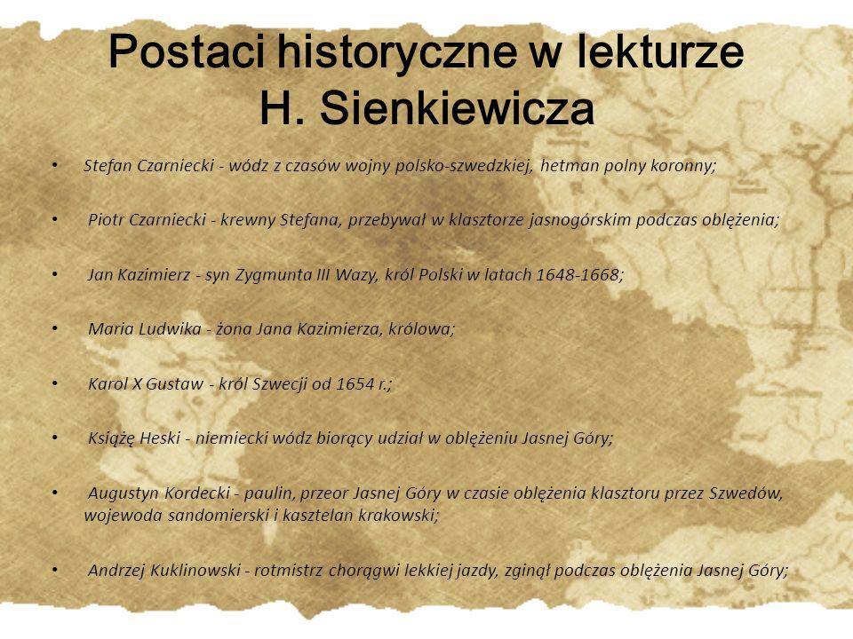 Jerzy Lubomirski - marszałek wielki, hetman polny koronny, uczestnik walk ze Szwedami i Moskwą, w 1664 roku skazany na banicję, inicjator rokoszu, przeciwnik reform Jana Kazimierza; Miller -generał, Niemiec na służbie u Szwedów, dowodził oblężeniem Jasnej Góry; Krzysztof Opaliński - wojewoda poznański, poeta, poddał Szwedom Wielkopolskę pod Ujściem; Piotr Opaliński - wojewoda podlaski, uczestnik oddania Wielkopolski Szwedom pod Ujściem; Hieronim Radziejowski - podkanclerz koronny, wypędzony z Polski po zatargu z królem, namawiał Karola Gustawa do przejęcia tronu w Polsce, po potopie ułaskawiony; Bogusław Radziwił - chorąży, koniuszy litewski, gubernator Prus książęcych, pod koniec potopu odszedł od Szwedów;