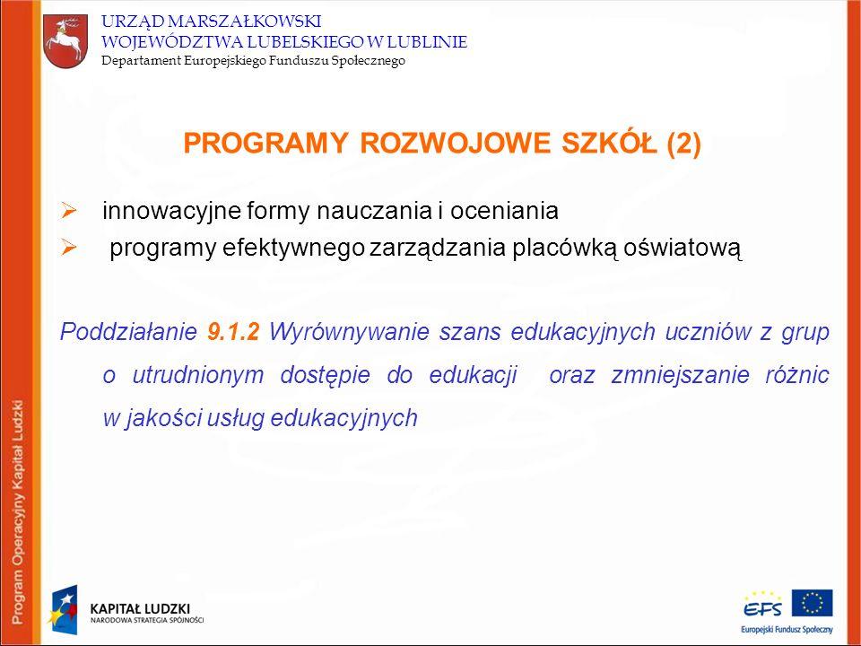URZĄD MARSZAŁKOWSKI WOJEWÓDZTWA LUBELSKIEGO W LUBLINIE Departament Europejskiego Funduszu Społecznego PROGRAMY ROZWOJOWE SZKÓŁ (2)  innowacyjne formy nauczania i oceniania  programy efektywnego zarządzania placówką oświatową Poddziałanie 9.1.2 Wyrównywanie szans edukacyjnych uczniów z grup o utrudnionym dostępie do edukacji oraz zmniejszanie różnic w jakości usług edukacyjnych