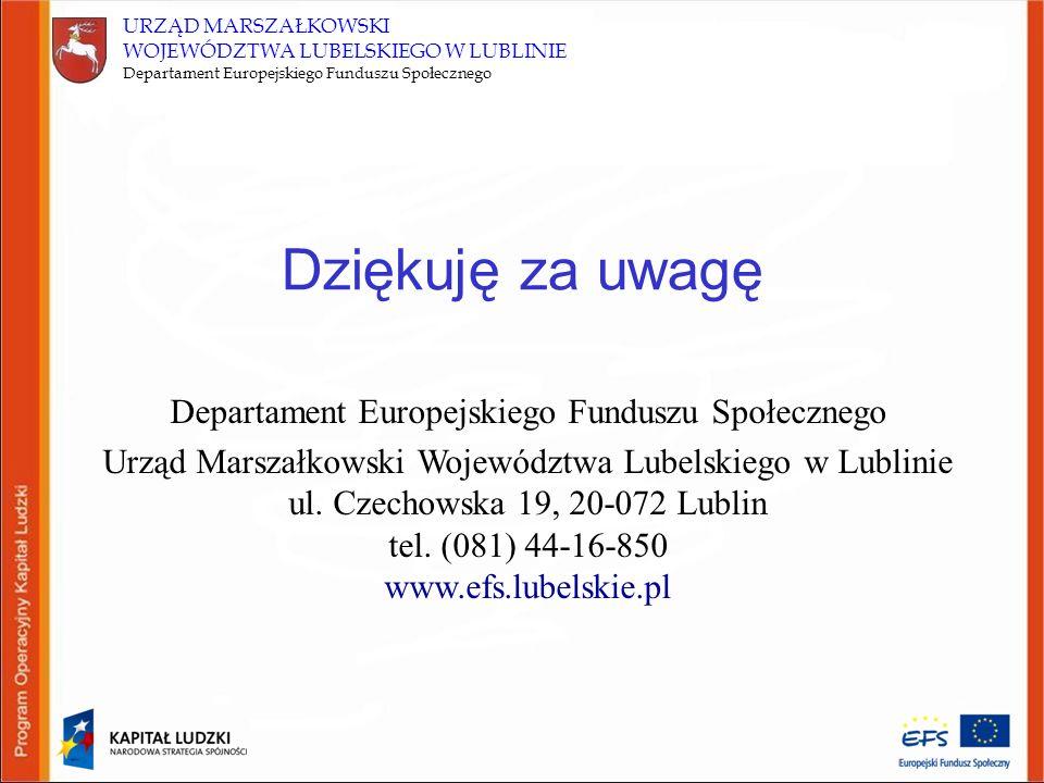 URZĄD MARSZAŁKOWSKI WOJEWÓDZTWA LUBELSKIEGO W LUBLINIE Departament Europejskiego Funduszu Społecznego Dziękuję za uwagę Departament Europejskiego Funduszu Społecznego Urząd Marszałkowski Województwa Lubelskiego w Lublinie ul.