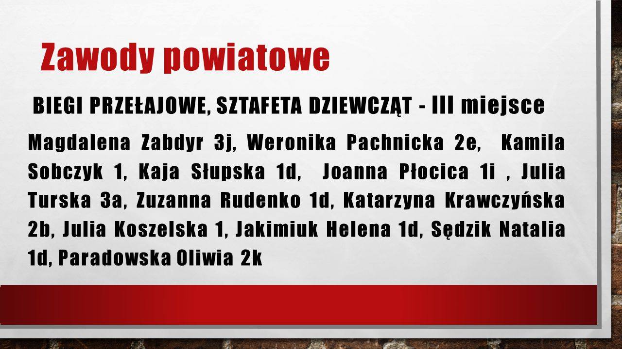 Zawody powiatowe BIEGI PRZEŁAJOWE, SZTAFETA DZIEWCZĄT - III miejsce Magdalena Zabdyr 3j, Weronika Pachnicka 2e, Kamila Sobczyk 1, Kaja Słupska 1d, Joanna Płocica 1i, Julia Turska 3a, Zuzanna Rudenko 1d, Katarzyna Krawczyńska 2b, Julia Koszelska 1, Jakimiuk Helena 1d, Sędzik Natalia 1d, Paradowska Oliwia 2k