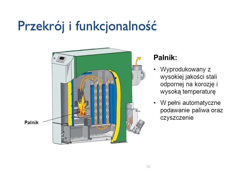 18 Przekrój i funkcjonalność Palnik Palnik: Wyprodukowany z wysokiej jakości stali odpornej na korozję i wysoką temperaturę W pełni automatyczne podaw