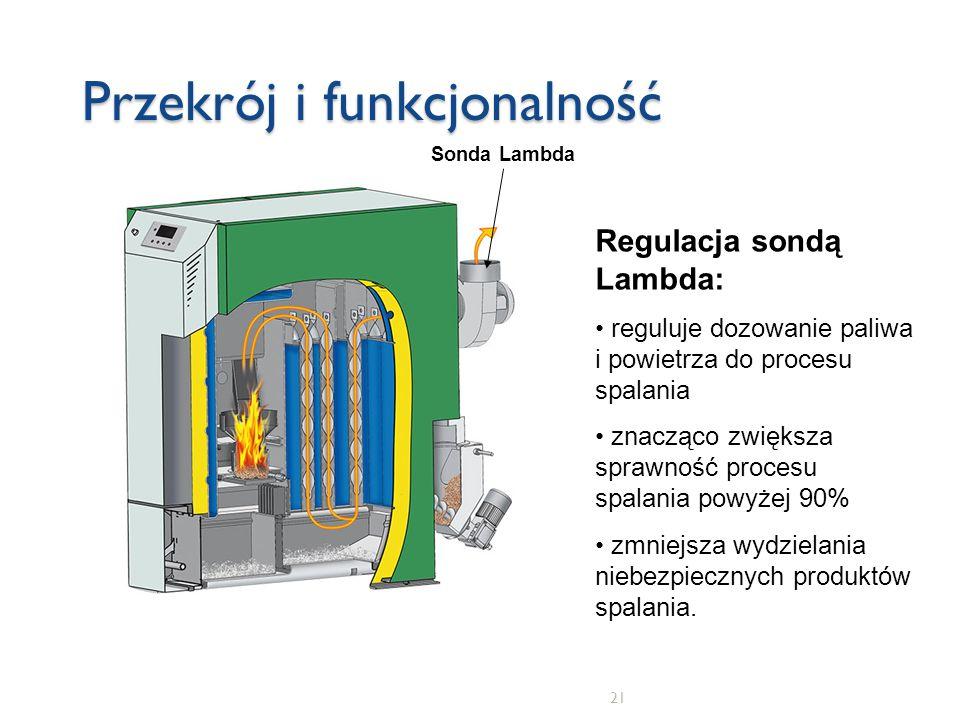 21 Przekrój i funkcjonalność Sonda Lambda Regulacja sondą Lambda: reguluje dozowanie paliwa i powietrza do procesu spalania znacząco zwiększa sprawnoś