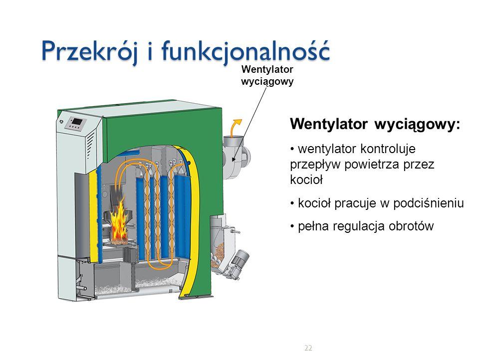 22 Przekrój i funkcjonalność Wentylator wyciągowy Wentylator wyciągowy: wentylator kontroluje przepływ powietrza przez kocioł kocioł pracuje w podciśn