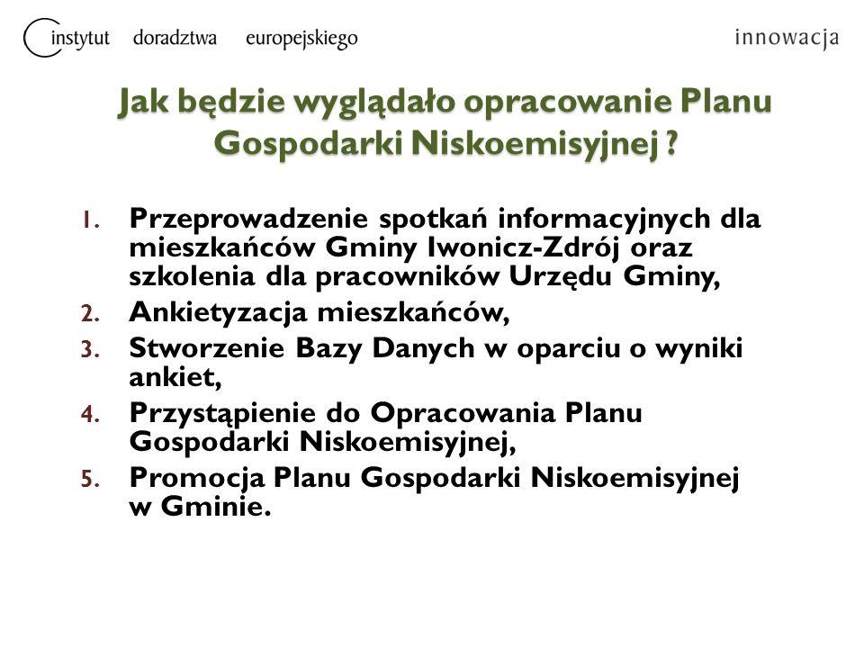 Jak będzie wyglądało opracowanie Planu Gospodarki Niskoemisyjnej ? 1. Przeprowadzenie spotkań informacyjnych dla mieszkańców Gminy Iwonicz-Zdrój oraz