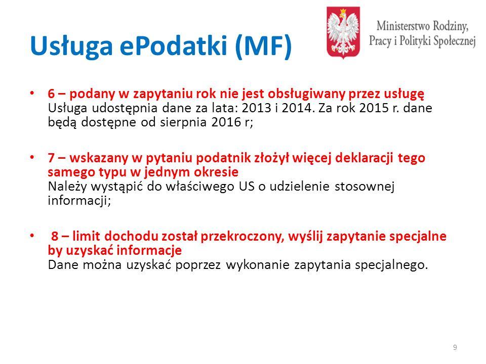 Usługa ePodatki (MF) 6 – podany w zapytaniu rok nie jest obsługiwany przez usługę Usługa udostępnia dane za lata: 2013 i 2014. Za rok 2015 r. dane będ
