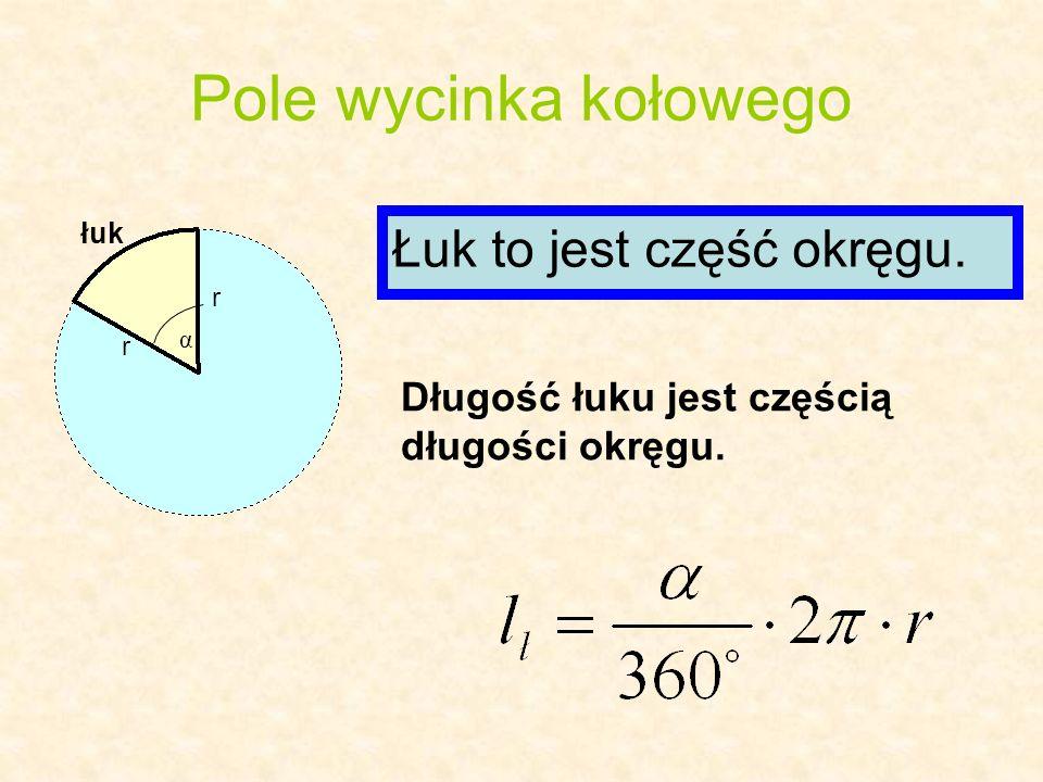 Pole wycinka kołowego r r α łuk Łuk to jest część okręgu. Długość łuku jest częścią długości okręgu.