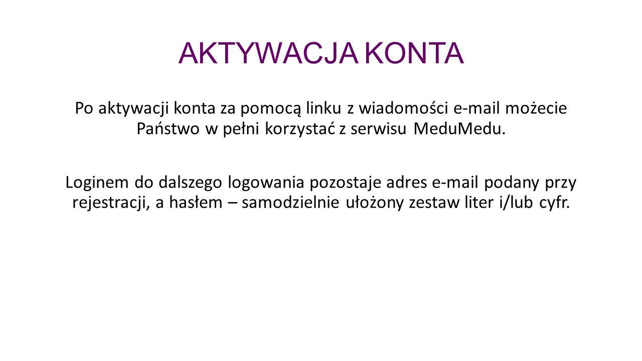 AKTYWACJA KONTA Po aktywacji konta za pomocą linku z wiadomości e-mail możecie Państwo w pełni korzystać z serwisu MeduMedu.