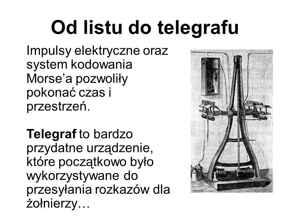 Od listu do telegrafu Impulsy elektryczne oraz system kodowania Morse'a pozwoliły pokonać czas i przestrzeń. Telegraf to bardzo przydatne urządzenie,