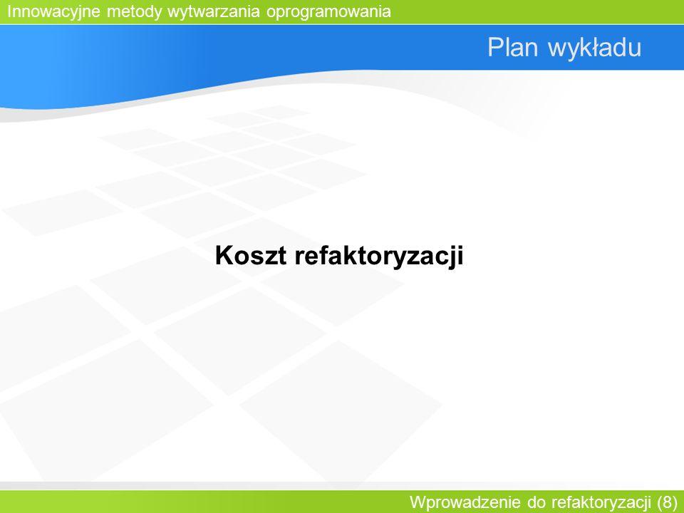 Innowacyjne metody wytwarzania oprogramowania Wprowadzenie do refaktoryzacji (8) Plan wykładu Koszt refaktoryzacji