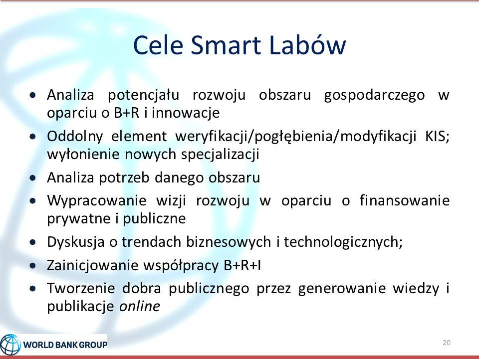 Cele Smart Labów  Analiza potencjału rozwoju obszaru gospodarczego w oparciu o B+R i innowacje  Oddolny element weryfikacji/pogłębienia/modyfikacji KIS; wyłonienie nowych specjalizacji  Analiza potrzeb danego obszaru  Wypracowanie wizji rozwoju w oparciu o finansowanie prywatne i publiczne  Dyskusja o trendach biznesowych i technologicznych;  Zainicjowanie współpracy B+R+I  Tworzenie dobra publicznego przez generowanie wiedzy i publikacje online 20