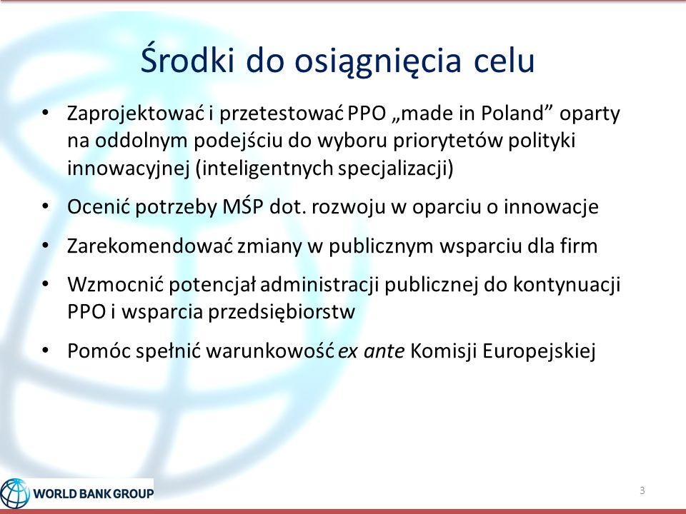 """Środki do osiągnięcia celu Zaprojektować i przetestować PPO """"made in Poland"""" oparty na oddolnym podejściu do wyboru priorytetów polityki innowacyjnej"""