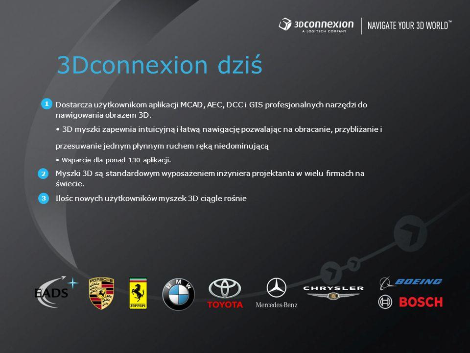 3Dconnexion dziś Dostarcza użytkownikom aplikacji MCAD, AEC, DCC i GIS profesjonalnych narzędzi do nawigowania obrazem 3D. 3D myszki zapewnia intuicyj