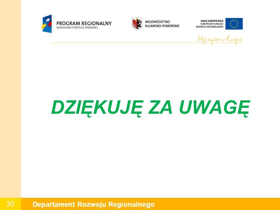 33 Departament Rozwoju Regionalnego DZIĘKUJĘ ZA UWAGĘ