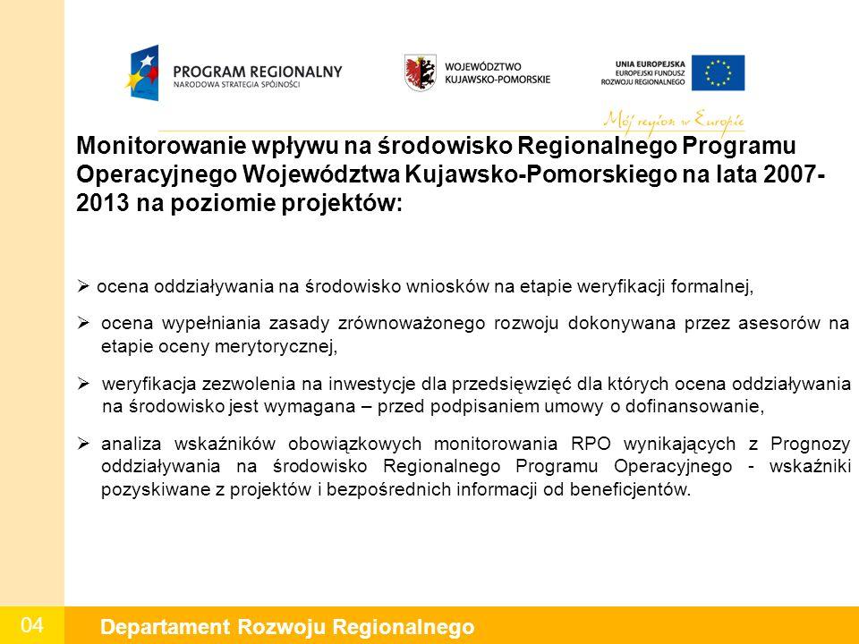 04 Departament Rozwoju Regionalnego Monitorowanie wpływu na środowisko Regionalnego Programu Operacyjnego Województwa Kujawsko-Pomorskiego na lata 2007- 2013 na poziomie projektów:  ocena oddziaływania na środowisko wniosków na etapie weryfikacji formalnej,  ocena wypełniania zasady zrównoważonego rozwoju dokonywana przez asesorów na etapie oceny merytorycznej,  weryfikacja zezwolenia na inwestycje dla przedsięwzięć dla których ocena oddziaływania na środowisko jest wymagana – przed podpisaniem umowy o dofinansowanie,  analiza wskaźników obowiązkowych monitorowania RPO wynikających z Prognozy oddziaływania na środowisko Regionalnego Programu Operacyjnego - wskaźniki pozyskiwane z projektów i bezpośrednich informacji od beneficjentów.