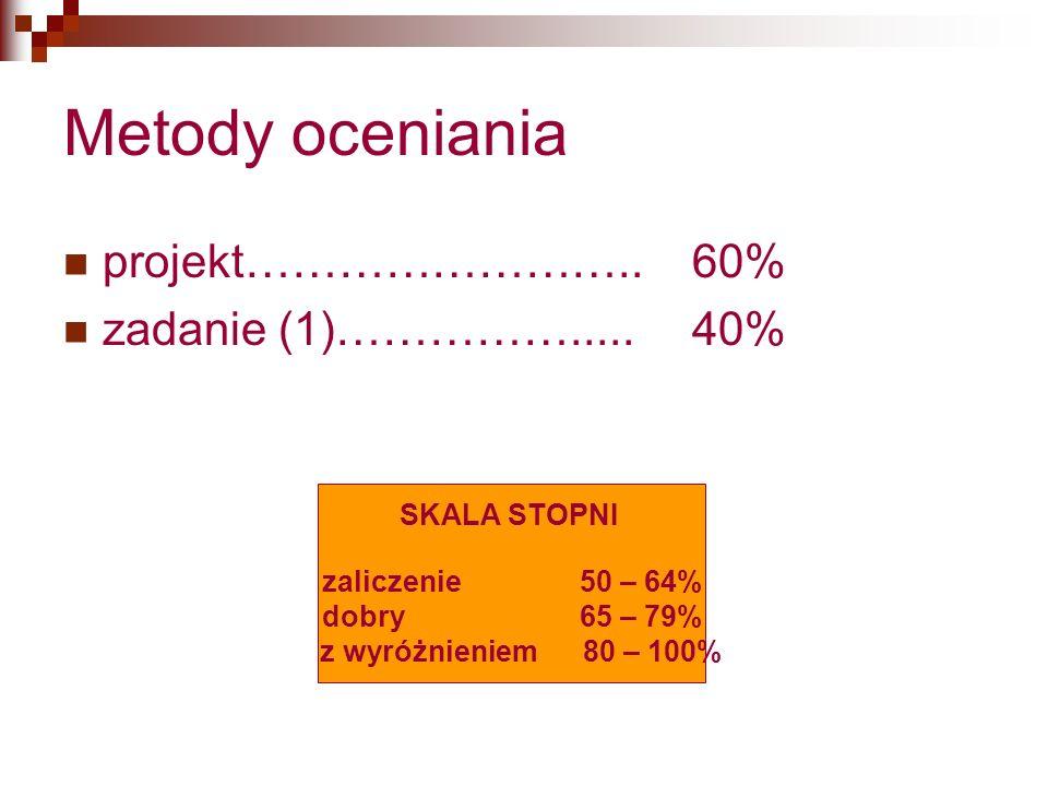 Metody oceniania projekt……………………..60% zadanie (1)…………….....40% SKALA STOPNI zaliczenie 50 – 64% dobry 65 – 79% z wyróżnieniem 80 – 100%