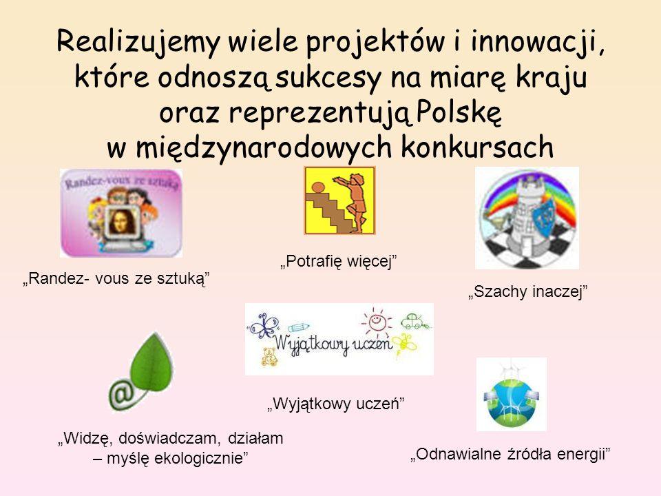 """Realizujemy wiele projektów i innowacji, które odnoszą sukcesy na miarę kraju oraz reprezentują Polskę w międzynarodowych konkursach """"Randez- vous ze sztuką """"Szachy inaczej """"Widzę, doświadczam, działam – myślę ekologicznie """"Odnawialne źródła energii """"Potrafię więcej """"Wyjątkowy uczeń"""