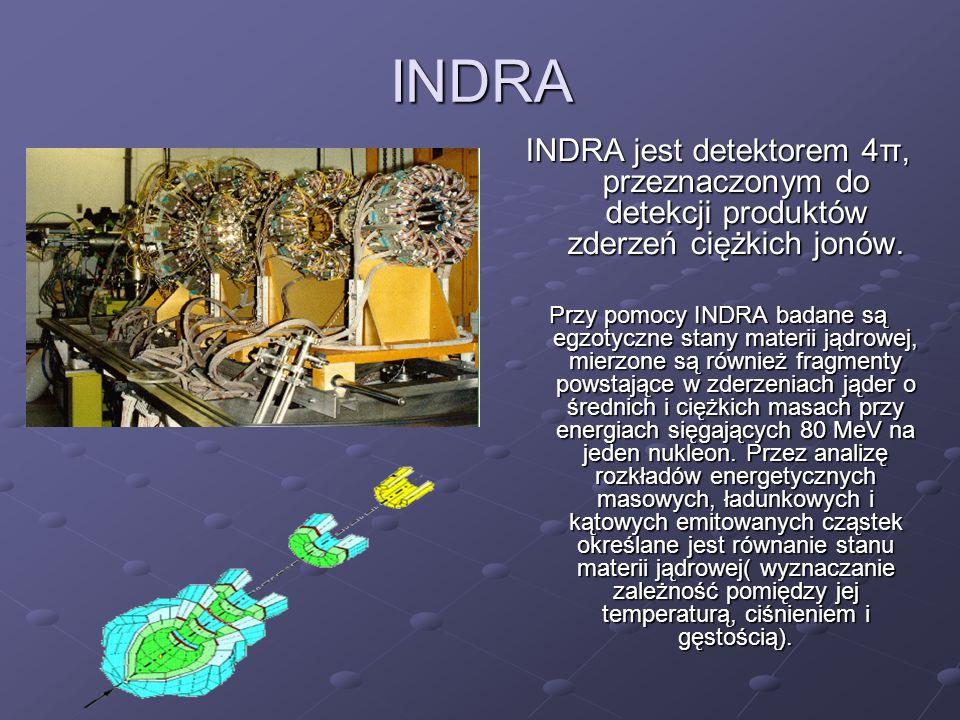 INDRA INDRA jest detektorem 4π, przeznaczonym do detekcji produktów zderzeń ciężkich jonów. Przy pomocy INDRA badane są egzotyczne stany materii jądro