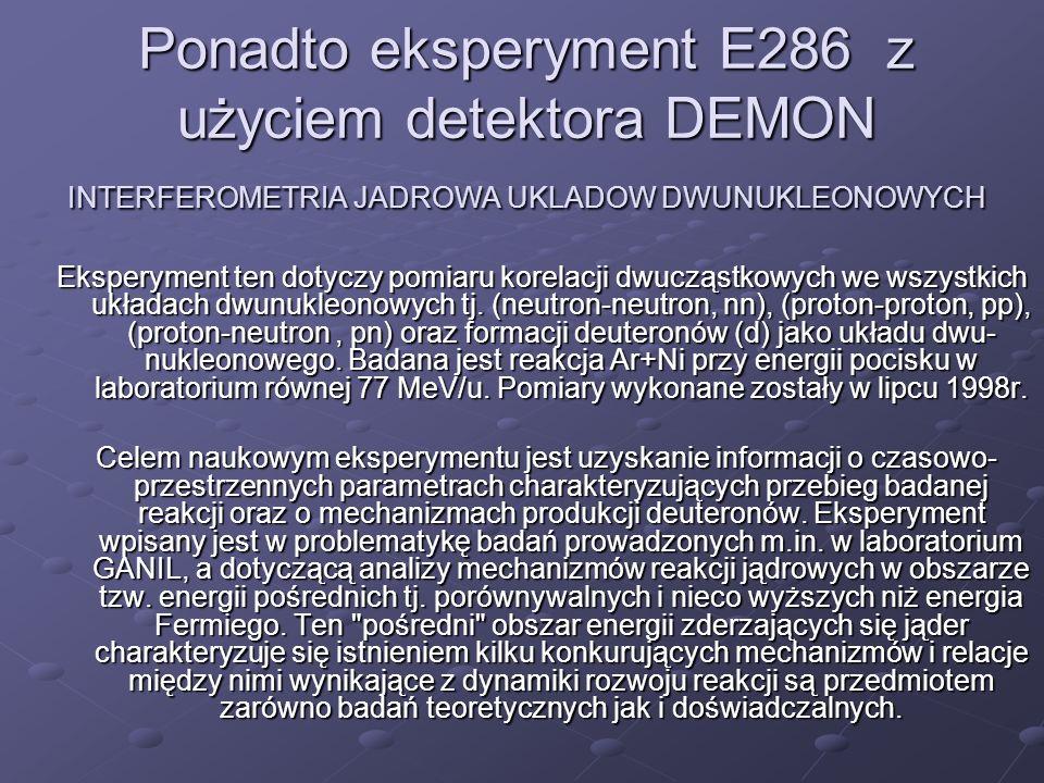 Ponadto eksperyment E286 z użyciem detektora DEMON INTERFEROMETRIA JADROWA UKLADOW DWUNUKLEONOWYCH Eksperyment ten dotyczy pomiaru korelacji dwucząstk