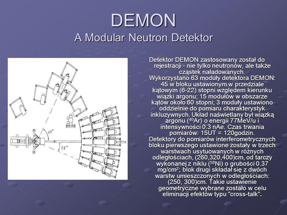 DEMON A Modular Neutron Detektor Detektor DEMON zastosowany został do rejestracji - nie tylko neutronów, ale także cząstek naładowanych. Wykorzystano