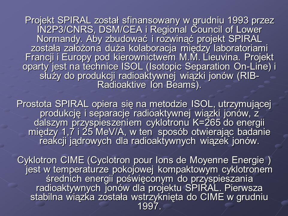 Projekt SPIRAL został sfinansowany w grudniu 1993 przez IN2P3/CNRS, DSM/CEA i Regional Council of Lower Normandy. Aby zbudować i rozwinąć projekt SPIR