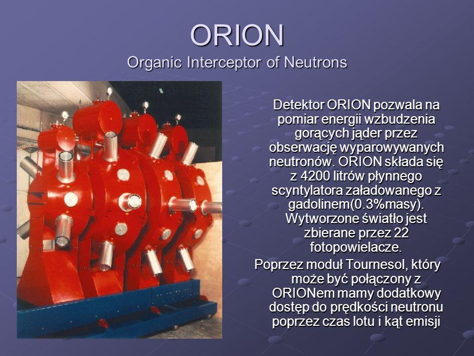 ORION Organic Interceptor of Neutrons Detektor ORION pozwala na pomiar energii wzbudzenia gorących jąder przez obserwację wyparowywanych neutronów. OR