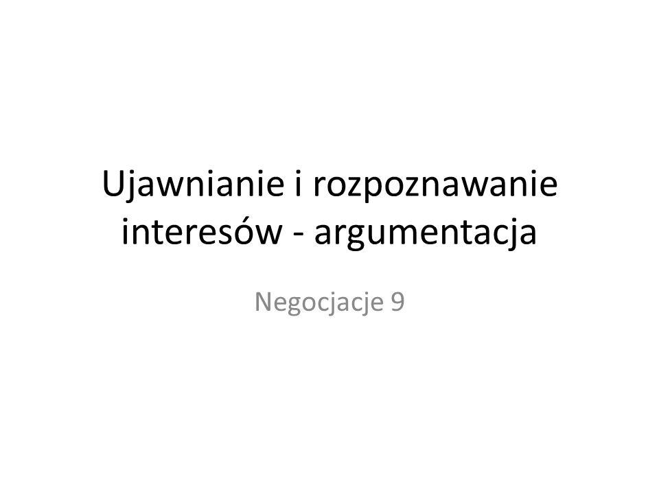 Ujawnianie i rozpoznawanie interesów - argumentacja Negocjacje 9