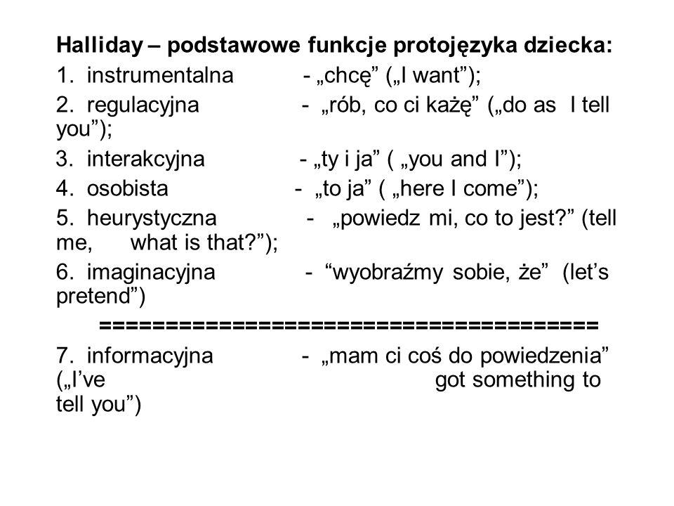 Halliday – podstawowe funkcje protojęzyka dziecka: 1.
