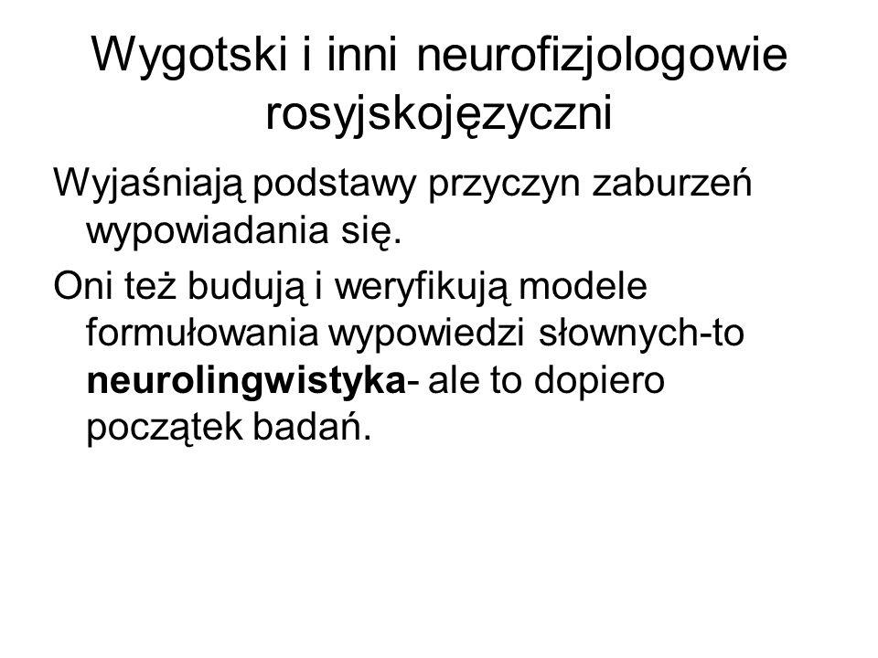 Wygotski i inni neurofizjologowie rosyjskojęzyczni Wyjaśniają podstawy przyczyn zaburzeń wypowiadania się.