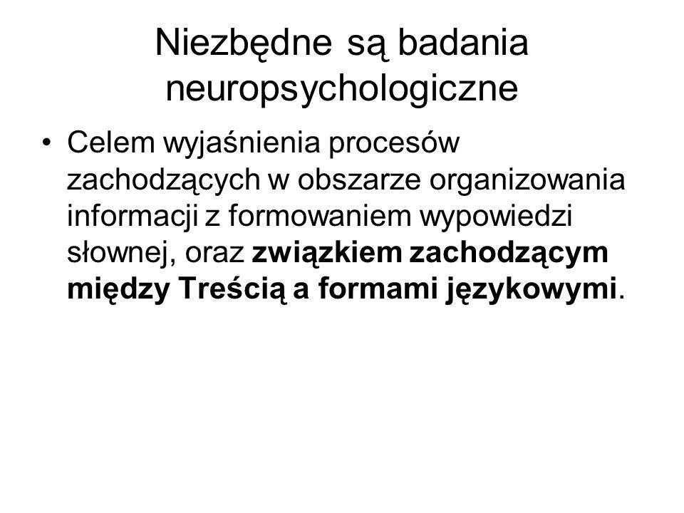 Niezbędne są badania neuropsychologiczne Celem wyjaśnienia procesów zachodzących w obszarze organizowania informacji z formowaniem wypowiedzi słownej, oraz związkiem zachodzącym między Treścią a formami językowymi.