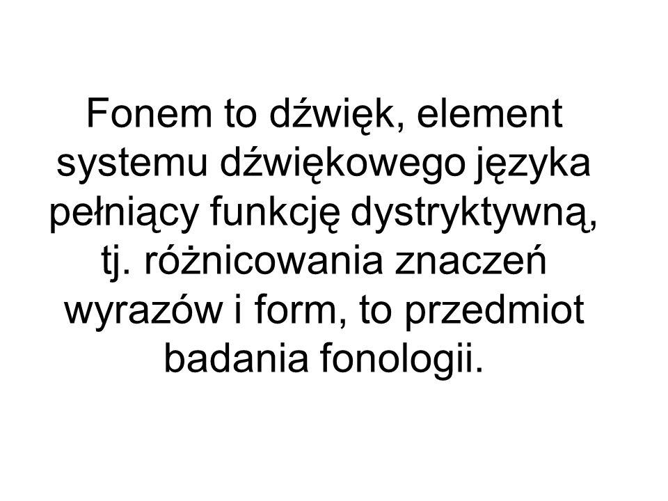Fonem to dźwięk, element systemu dźwiękowego języka pełniący funkcję dystryktywną, tj.