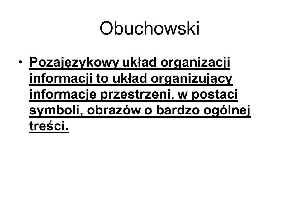 Obuchowski Pozajęzykowy układ organizacji informacji to układ organizujący informację przestrzeni, w postaci symboli, obrazów o bardzo ogólnej treści.