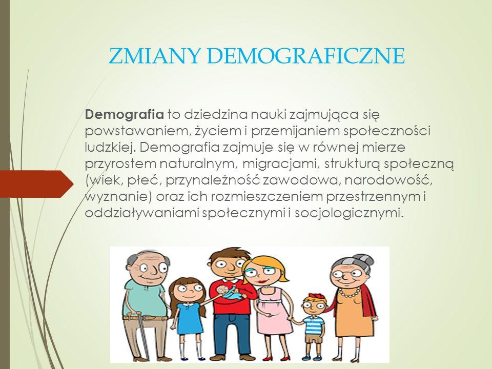 ZMIANY DEMOGRAFICZNE Demografia to dziedzina nauki zajmująca się powstawaniem, życiem i przemijaniem społeczności ludzkiej. Demografia zajmuje się w r