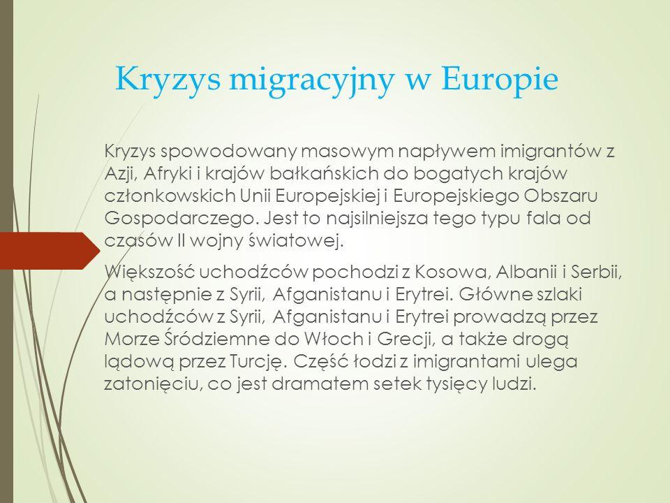 Kryzys migracyjny w Europie Kryzys spowodowany masowym napływem imigrantów z Azji, Afryki i krajów bałkańskich do bogatych krajów członkowskich Unii E