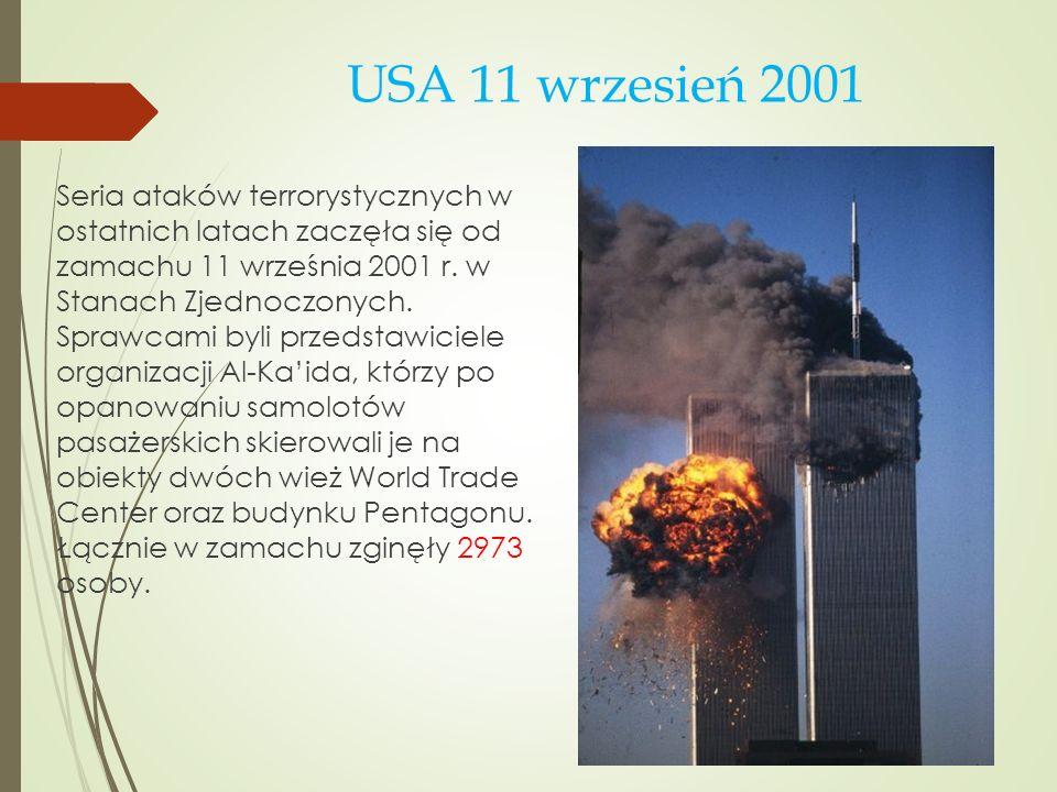 Madryt 11 marca 2004 Trzy lata później, 11 marca 2004 roku kolejna seria ataków terrorystycznych odbyła się na pociągi w Madrycie, do których użyto trzynastu bomb, z czego dziesięć eksplodowało.