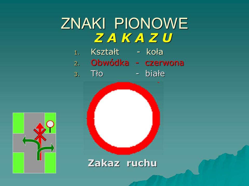 ZNAKI PIONOWE Z A K A Z U 1. K ształt - koła 2. O bwódka - czerwona 3. T ło - białe Zakaz ruchu