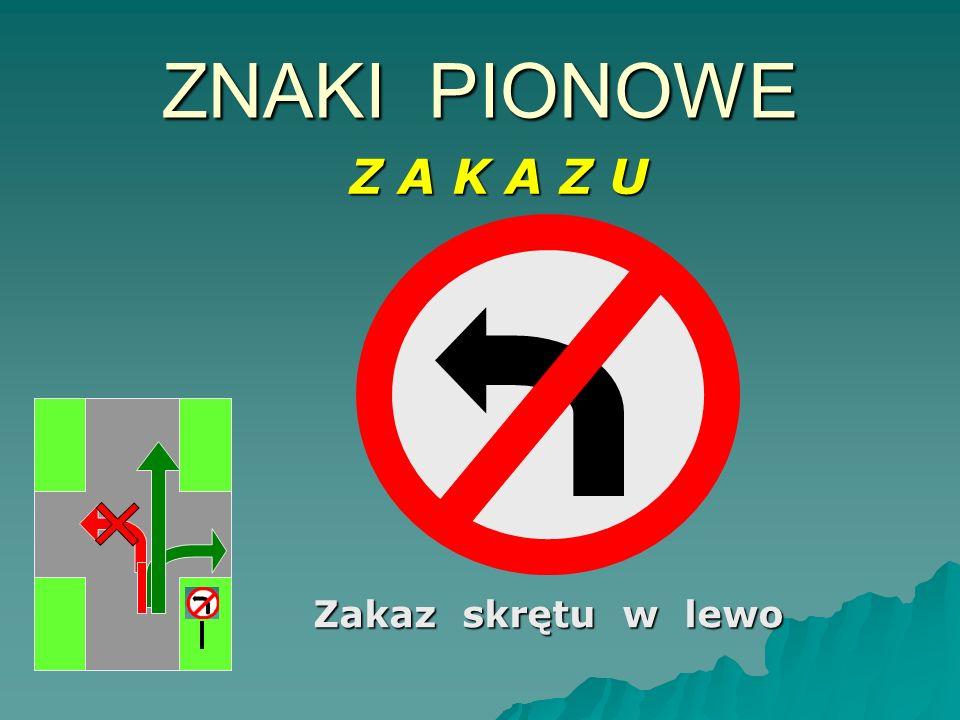 Zakaz skrętu w prawo ZNAKI PIONOWE Z A K A Z U