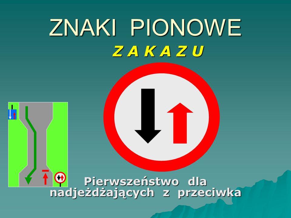 Pierwszeństwo dla nadjeżdżających z przeciwka ZNAKI PIONOWE Z A K A Z U