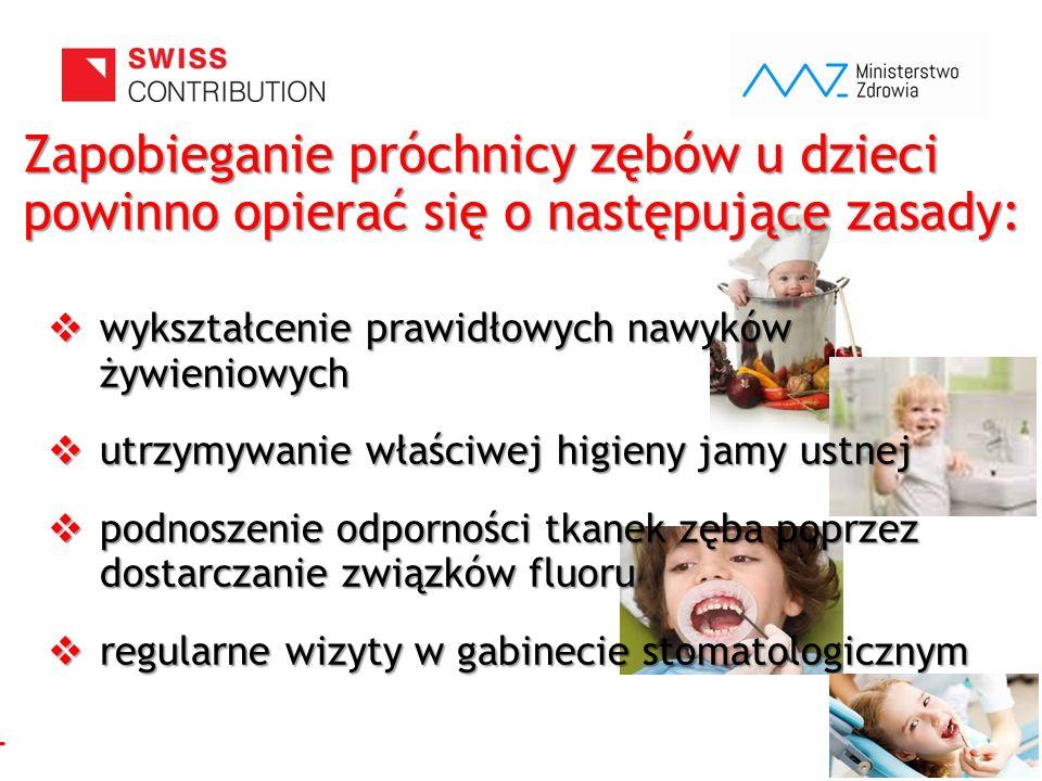 www.zebymalegodziecka.pl Zapobieganie próchnicy zębów u dzieci powinno opierać się o następujące zasady:  wykształcenie prawidłowych nawyków żywienio