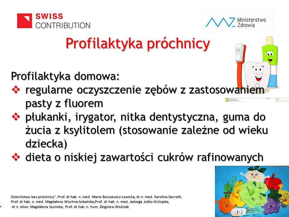 www.zebymalegodziecka.pl Profilaktyka próchnicy Profilaktyka domowa:  regularne oczyszczenie zębów z zastosowaniem pasty z fluorem  płukanki, irygat