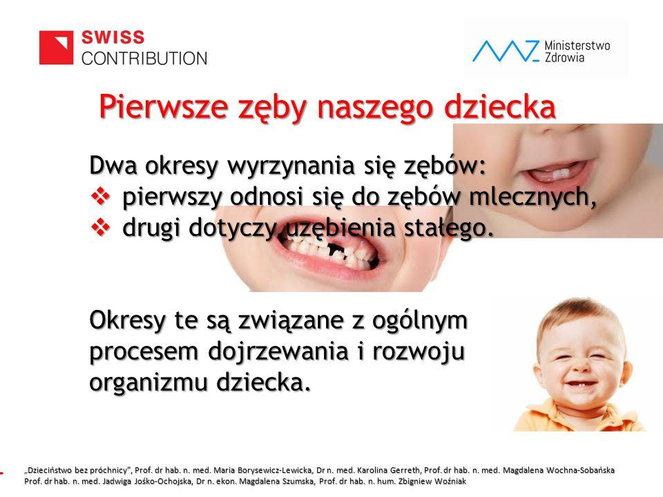 www.zebymalegodziecka.pl Dwa okresy wyrzynania się zębów:  pierwszy odnosi się do zębów mlecznych,  drugi dotyczy uzębienia stałego. Okresy te są zw