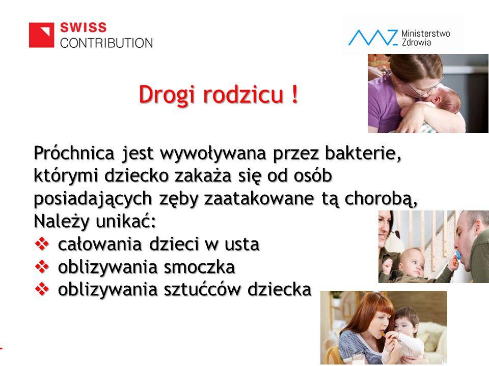 www.zebymalegodziecka.pl Próchnica jest wywoływana przez bakterie, którymi dziecko zakaża się od osób posiadających zęby zaatakowane tą chorobą, Należ