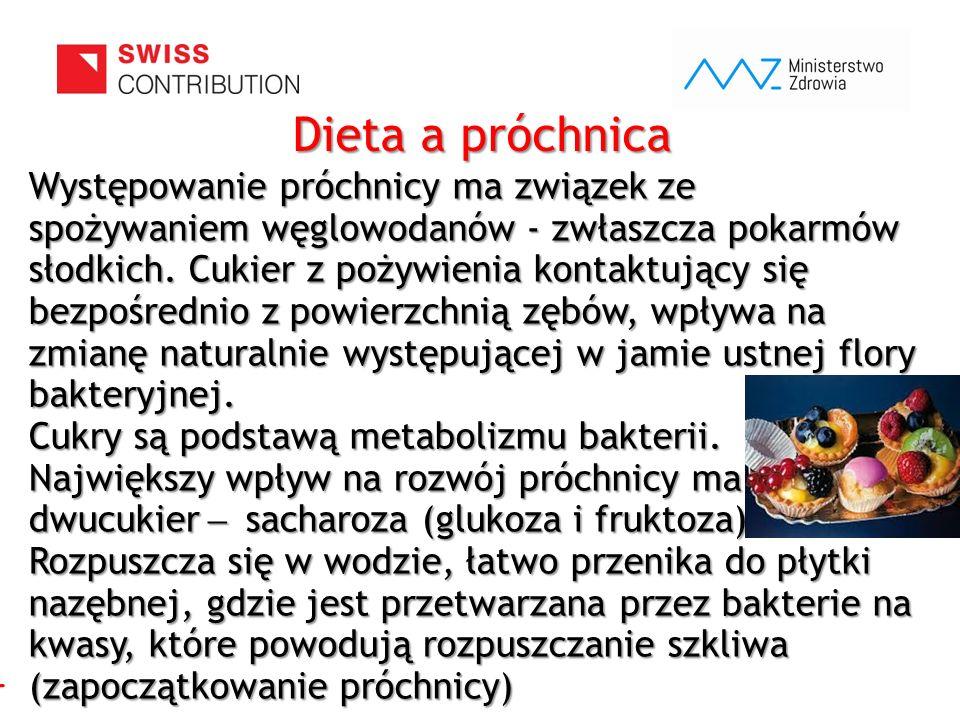 www.zebymalegodziecka.pl Dieta a próchnica Występowanie próchnicy ma związek ze spożywaniem węglowodanów - zwłaszcza pokarmów słodkich. Cukier z pożyw