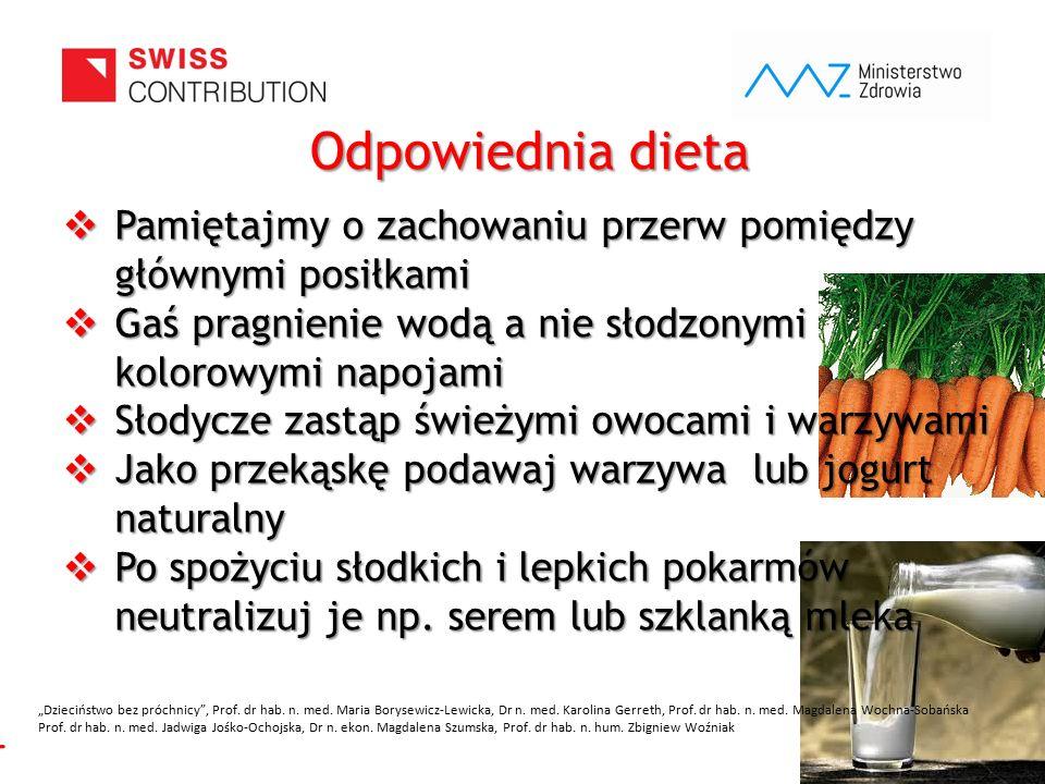 www.zebymalegodziecka.pl Odpowiednia dieta  Pamiętajmy o zachowaniu przerw pomiędzy głównymi posiłkami  Gaś pragnienie wodą a nie słodzonymi kolorow