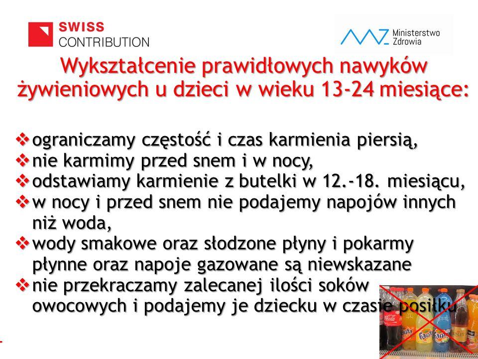www.zebymalegodziecka.pl Wykształcenie prawidłowych nawyków żywieniowych u dzieci w wieku 13-24 miesiące:  ograniczamy częstość i czas karmienia pier