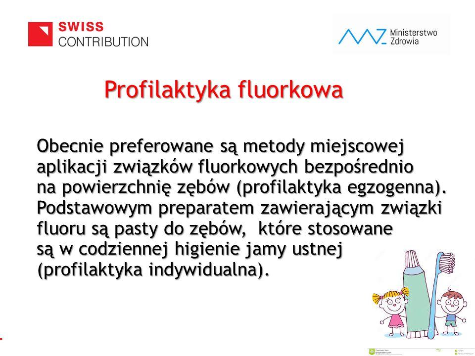 www.zebymalegodziecka.pl Profilaktyka fluorkowa Obecnie preferowane są metody miejscowej aplikacji związków fluorkowych bezpośrednio na powierzchnię z