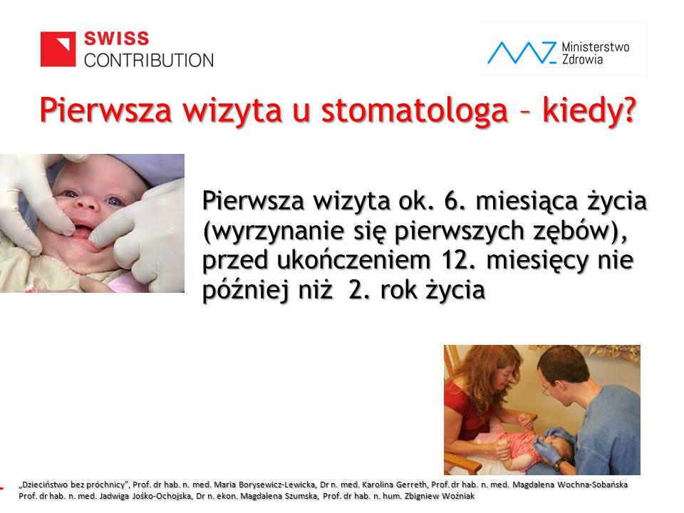 www.zebymalegodziecka.pl Pierwsza wizyta ok. 6. miesiąca życia (wyrzynanie się pierwszych zębów), przed ukończeniem 12. miesięcy nie później niż 2. ro