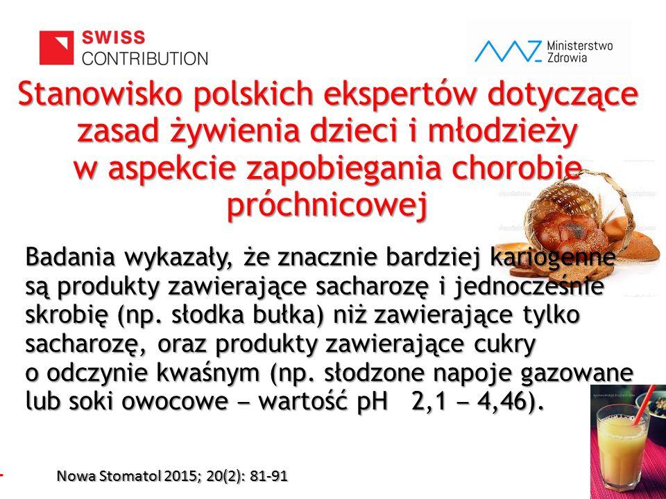 www.zebymalegodziecka.pl Stanowisko polskich ekspertów dotyczące zasad żywienia dzieci i młodzieży w aspekcie zapobiegania chorobie próchnicowej Nowa