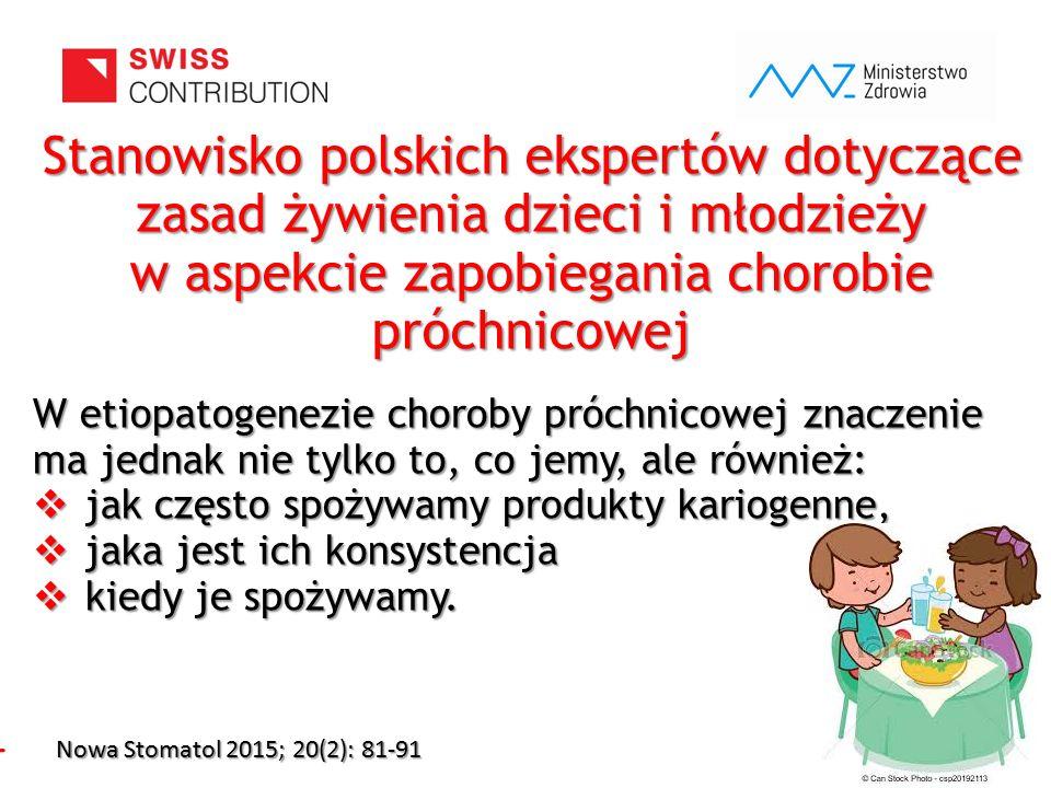 www.zebymalegodziecka.pl Stanowisko polskich ekspertów dotyczące zasad żywienia dzieci i młodzieży w aspekcie zapobiegania chorobie próchnicowej W eti