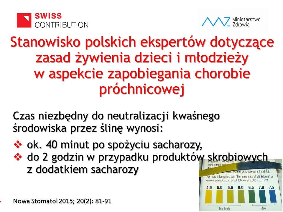 www.zebymalegodziecka.pl Stanowisko polskich ekspertów dotyczące zasad żywienia dzieci i młodzieży w aspekcie zapobiegania chorobie próchnicowej Czas