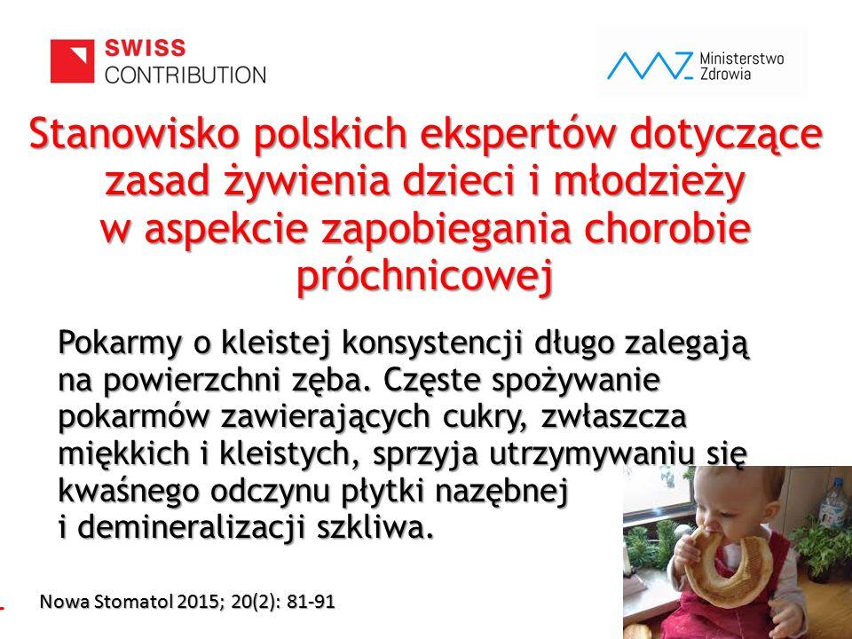 www.zebymalegodziecka.pl Stanowisko polskich ekspertów dotyczące zasad żywienia dzieci i młodzieży w aspekcie zapobiegania chorobie próchnicowej Pokar